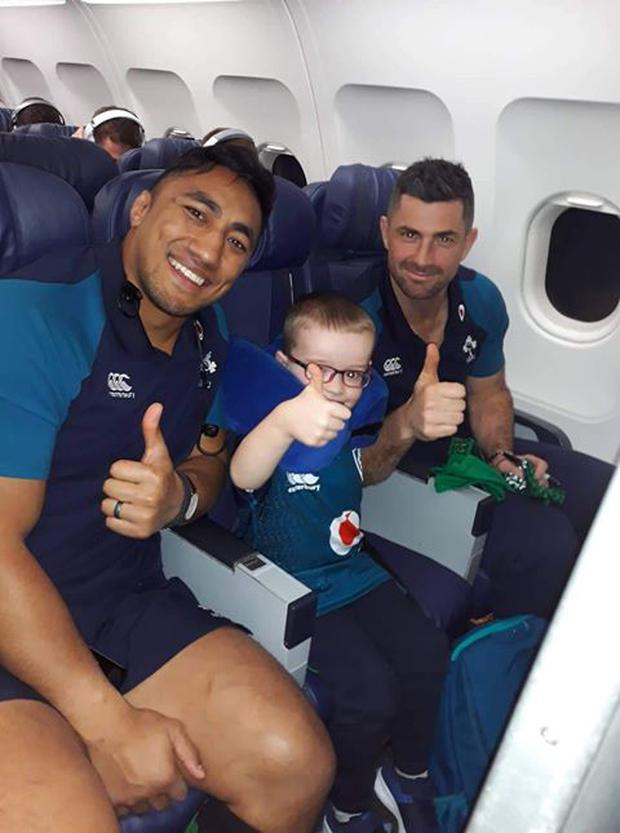 Emmet O'Neill (6) from Co Monaghan was chosen by Aer Lingus to fly with the rugby team this weekend.
