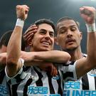 Newcastle United's Ayoze Perez celebrates scoring his side's second goal