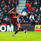 Joshua King of AFC Bournemouth misses a penalty during the Premier League match between AFC Bournemouth and Wolverhampton Wanderers at Vitality Stadium on February 23, 2019 in Bournemouth, United Kingdom. (Photo by Clive Rose/Getty Images)
