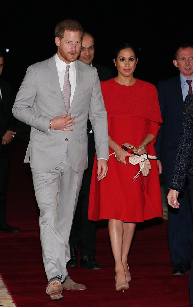 Britain's Prince Harry and Meghan, Duchess of Sussex, arrive at the Casablanca Airport in Casablanca, Morocco, February 23, 2019. REUTERS/Hannah McKay/Pool