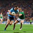 Cormac Costello of Dublin in action against Keith Higgins of Mayo during the Allianz Football League Division 1 Round 4 match between Dublin and Mayo at Croke Park in Dublin. Photo by Daire Brennan/Sportsfile