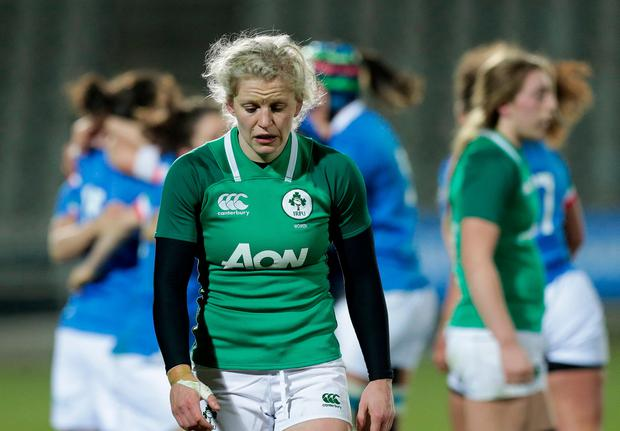 A dejected Claire Molloy of Ireland following the Women's Six Nations Rugby Championship match between Italy and Ireland at Viale Piacenza in Parma, Italy. Photo by Roberto Bregani/Sportsfile