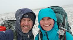 Seamus Lawless and Jenny Copeland on one of their earlier treks in training for the climb
