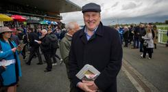 Newstalk presenter Ivan Yates, who doesn't drive because of his back, at the races in Fairyhouse