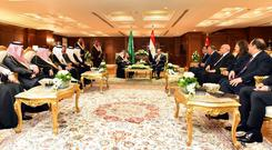 Egyptian President Abdel Fattah al-Sisi meets with Saudi Arabia's King Salman bin Abdulaziz before the first European Union and Arab League Summit in the Red Sea resort of Sharm el-Sheikh, Egypt, February 23, 2019 in this handout picture courtesy of the Egyptian Presidency. The Egyptian Presidency/Handout via REUTERS