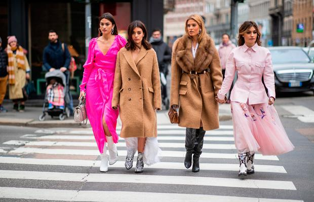 Marta Lozano, Aida Domenech, Teresa Andres Gonzalvo, Ángela Rozas Saiz attends the Ermanno Scervino show at Milan Fashion Week Autumn/Winter 2019/20 on February 23, 2019 in Milan, Italy. (Photo by Christian Vierig/Getty Images for Ermanno Scervino)
