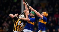 Liam Blanchfield of Kilkenny in action against James Barry and Padraic Maher, right, of Tipperary during the Allianz Hurling League Division 1A Round 4 match between Tipperary and Kilkenny at Semple Stadium in Thurles, Co Tipperary. Photo by Ray McManus/Sportsfile