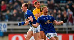 Jack Brady of Cavan, right, celebrates following his side's third goal of the game, scored by team-mate Martin Reilly, left, during the Allianz Football League Division 1 Round 4 match between Cavan and Roscommon at the Kingspan Breffni Park in Cavan. Photo by Seb Daly/Sportsfile
