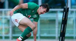 Jacob Stockdale (pictured) has an eye for the try and once again he scored when Sexton floated the ball over the Italians, who foolishly advanced too far out from the touchline. He is our Jonah Lomu.' Photo: PA