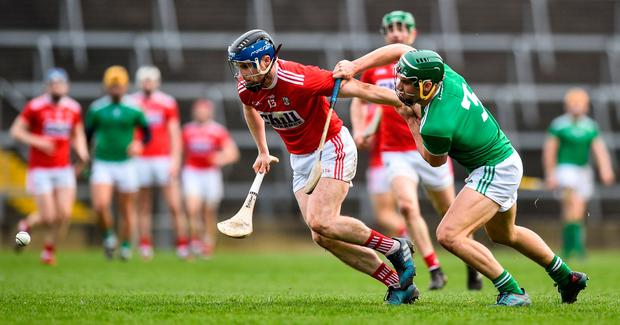 Stop me if you can: Cork's Conor Lehane tries to get away from Seán Finn during the Allianz Hurling League match at the Gaelic Grounds. Photo by David Fitzgerald/Sportsfile
