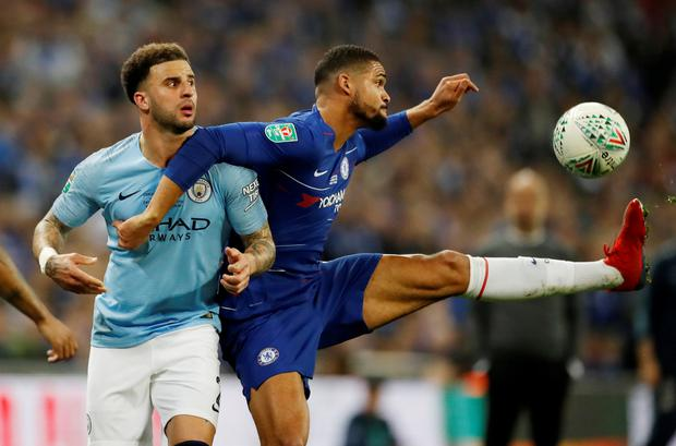 Manchester City's Kyle Walker in action with Chelsea's Ruben Loftus-Cheek. Photo: Reuters