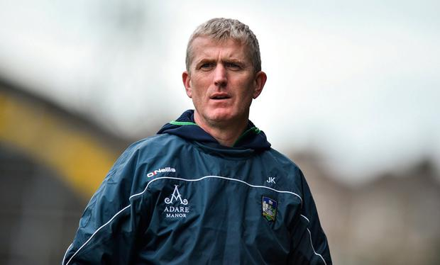 Limerick manager John Kiely during the Allianz Hurling League Division 1A Round 4 match between Limerick and Cork at the Gaelic Grounds in Limerick. Photo by David Fitzgerald/Sportsfile