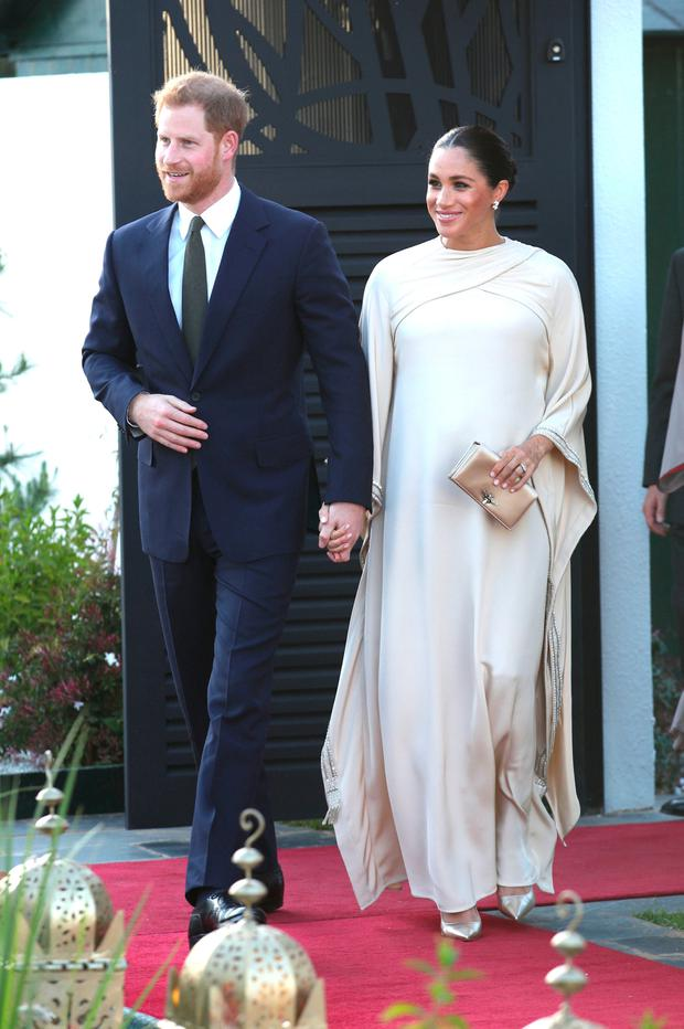 Prince Harry, Duke of Sussex and Meghan, Duchess of Sussex arrive for a reception hosted by the British Ambassador to Morocco at the British Residence during the second day of their tour of Morocco on February 24, 2019 in Rabat, Morocco. (Photo by Yui Mok - Pool/Getty Images)