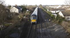 A train travels towards Newbridge this morning Picture credit; Damien Eagers / INM