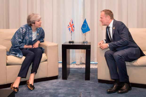 Prime minister Theresa May meets with EU Council President Donald Tusk at the EU-League of Arab States Summit in Sharm El-Sheikh, EgyptStefan Photo: Rousseau/PA Wire