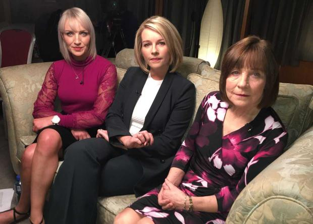 Presenter Claire Byrne with Clodagh's mother Mary Coll and sister Jacqueline Connolly