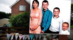The home of the Hawe family. Inset: Clodagh Hawe (39) pictured with her sons Liam (13), Niall (11) and Ryan (6)