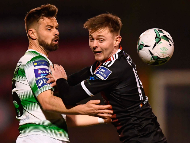 Shamrock Rovers' Greg Bolger and Bohemians' Conor Levingston. Photo: Sportsfile