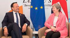 All smiles: Leo Varadkar and Theresa May meet in Sharm El-Sheikh yesterday. Picture: PA
