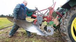 JP Fenlon, Ballylinan and Laois Ploughing chairman ploughing in the junior class at the South Laois Ploughing match at Springfield, Ballacolla, Saturday 23 February 2019. Picture: Alf Harvey.