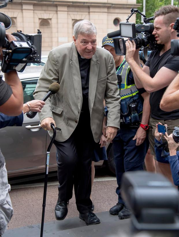 Cardinal George Pell arrives at the County Court in Melbourne, Australia, Tuesday, Feb. 26, 2019. (AP Photo/Andy Brownbill)
