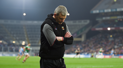A dejected Mayo manager James Horan against Dublin
