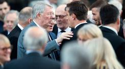 Sir Alex Ferguson and Gary Neville outside Halifax Minster after the funeral of Manchester United's former youth team coach Eric Harrison who died aged 81. PRESS ASSOCIATION Photo. Picture date: Tuesday February 26, 2019. Harrison, who forged the fledgling careers of the ïClass of 92Í stars David Beckham, Ryan Giggs, Nicky Butt, Paul Scholes and Gary and Phil Neville, was diagnosed with dementia four years ago. Photo credit should read: Danny Lawson/PA Wire
