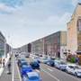 The proposed cycle lane at Fitzwilliam Street. Photo: Dublin City Council