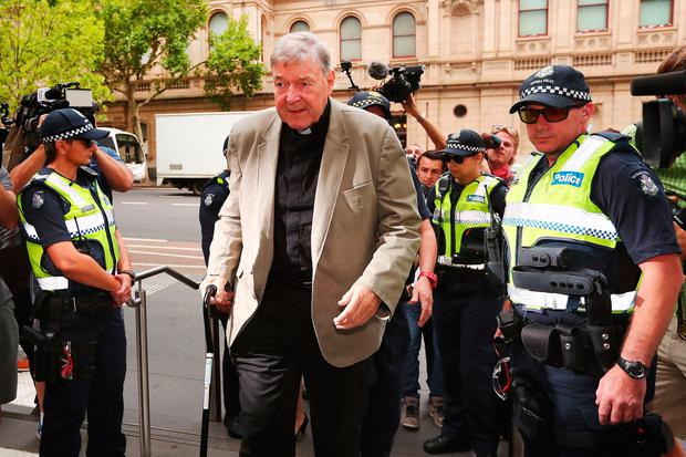 On trial: Cardinal George Pell – once the third most powerful man in the Vatican and Australia's most senior Catholic – arrives at the County Court in Melbourne yesterday. Photo: Michael Dodge/Getty Images