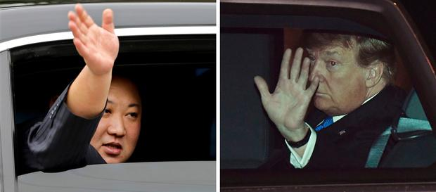 In this combination of images North Korean leader Kim Jong Un, left, waves from a car after arriving by train in Dong Dang, Vietnam, and U.S. President Donald Trump waves from his car after arriving on Air Force One at Noi Bai International Airport, in Hanoi, Vietnam, Tuesday, Feb. 26, 2019. (AP Photos)