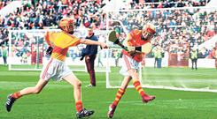 Dual stars: Goals for soccer and hurling were on show at Páirc Uí Chaoimh last year at the Liam Miller Memorial fundraiser – an event which prompted a rule change at Congress last weekend. Photo: Stephen McCarthy/Sportsfile