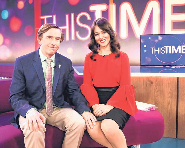 Aha!: The colossus of light current affairs Alan Partridge returns to the big time with Jennie (Susannah Fielding) on the BBC. Photo: Colin Hutton