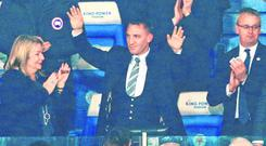 Premier return: New manager Brendan Rodgers is welcomed by Leicester City supporters ahead of last night's Premier League clash with Brighton. Photo: LINDSEY PARNABY/AFP/Getty Images
