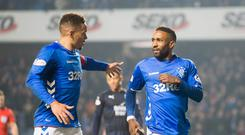Rangers' Jermain Defoe (right) celebrates scoring his side's fourth goal of the game with James Tavernier during the Ladbrokes Scottish Premiership match at the Ibrox Stadium, Glasgow. Wednesday February 27, 2019. Jeff Holmes/PA Wire.