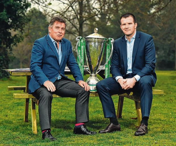 Leinster CEO Mick Dawson and Shane Jennings at the launch of a gala dinner to celebrate Leinster's 2009 Heineken Cup winning team. The event takes place at the RDS on May 28, further information can be found at leinsterrugby.ie