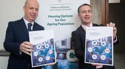 Minister for Housing and Urban Development, Mr Damien English TD & Minister for Mental Health and Older People, Mr Jim Daly TD during the launch of the joint policy statement 'Housing Options for Our Ageing Population' at the AV Room, Leinster House, Dublin. Photo: Gareth Chaney, Collins