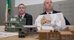 Minister for Housing and Urban Development, Mr Damien English TD & Minister for Mental Health and Older People, Mr Jim Daly TD with models of houses which won an age friendly Ireland sponsored architecture competition during a launch of the joint policy statement, 'Housing Options for Our Ageing Population' at the AV Room, Leinster House, Dublin. Photo: Gareth Chaney, Collins