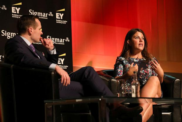 Guest speaker Monica Lewinsky pictured in conversation with Robert Mac Giolla Phádraig, Founder, Talent Summit