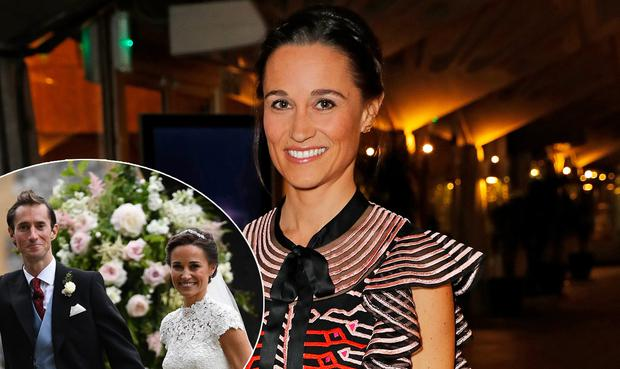 Pippa Middleton at an event for The British Heart Foundation, centre, and with her husband James Matthews on their wedding day in 2017