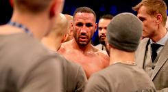 James DeGale (centre) after losing to Chris Eubank Jr in the Vacant Ibo Super-Middleweight Championship match at the O2 Arena at the weekend. Nick Potts/PA Wire