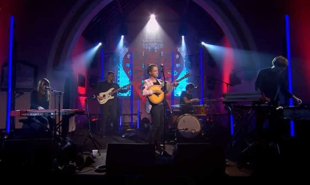Villagers performing at St Michael's Church for Other Voices Ballina
