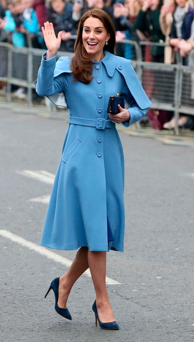 74f99d61ba3 Britain's Catherine, Duchess of Cambridge greets wellwishers as she arrives  in Ballymena, Northern Ireland