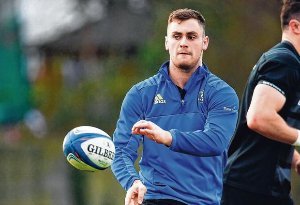 Conor O'Brien in action at Leinster training. Photo: Ramsey Cardy/Sportsfile