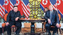Stalemate: US President Donald Trump and North Korea's Kim Jong-un face the media during the second US-North Korea summit in Hanoi. Photo: Saul Loeb/AFP/Getty Images