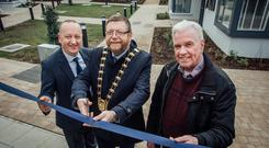 Pat Doyle, CEO Peter McVerry Trust, Mayor of Fingal Cllr. Anthony Lavin and Peter McVerry at the launch of the new social housing development in Ravenswood, Fingal.