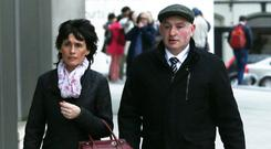 Together: Patrick Quirke on his way into court yesterday with his wife Imelda. Photo: Collins Courts