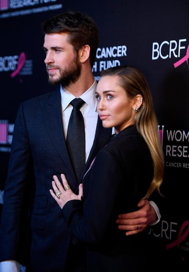 Liam Hemsworth and Miley Cyrus attends The Women's Cancer Research Fund's An Unforgettable Evening Benefit Gala at the Beverly Wilshire Four Seasons Hotel on February 28, 2019 in Beverly Hills, California. (Photo by Frazer Harrison/Getty Images)