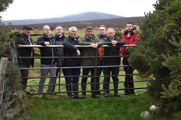 Members of Wicklow Uplands Council and the SUAS Operational Group meeting with Minister of State for Food, Forestry and Horticulture, Andrew Doyle and SUAS participants on the Glassamullen Commonage.