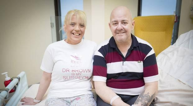 Sharon Traynor and her former husband Peter at the City Hospital in Belfast before their separate surgeries