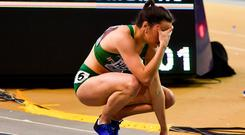 Phil Healy of of Ireland after finishing third in the Women's 400m event during day one of the European Indoor Athletics Championships at Emirates Arena in Glasgow, Scotland. Photo by Sam Barnes/Sportsfile